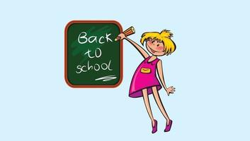 Happy School Kids pro vector clip art Writing in the board Back to School