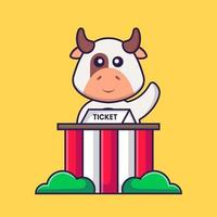 Cute cow is being a ticket keeper. Animal cartoon concept isolated. Can used for t-shirt, greeting card, invitation card or mascot. Flat Cartoon Style vector