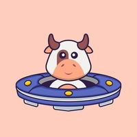 Cute cow Driving Spaceship Ufo. Animal cartoon concept isolated. Can used for t-shirt, greeting card, invitation card or mascot. Flat Cartoon Style vector