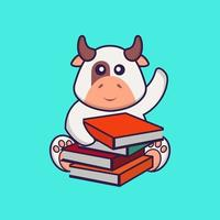 Cute cow reading a book. Animal cartoon concept isolated. Can used for t-shirt, greeting card, invitation card or mascot. flat cartoon style vector