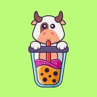 Cute cow Drinking Boba milk tea. Animal cartoon concept isolated. Can used for t-shirt, greeting card, invitation card or mascot. Flat Cartoon Style vector