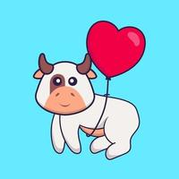 Cute cow flying with love shaped balloons. Animal cartoon concept isolated. Can used for t-shirt, greeting card, invitation card or mascot. Flat Cartoon Style vector