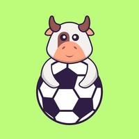 Cute cow playing soccer. Animal cartoon concept isolated. Can used for t-shirt, greeting card, invitation card or mascot. Flat Cartoon Style vector