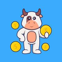 Cute cow holding coin. Animal cartoon concept isolated. Can used for t-shirt, greeting card, invitation card or mascot. Flat Cartoon Style vector