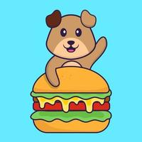 Cute dog eating burger. Animal cartoon concept isolated. Can used for t-shirt, greeting card, invitation card or mascot. Flat Cartoon Style vector