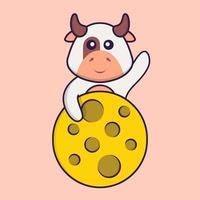 linda vaca está en la luna. aislado concepto de dibujos animados de animales. Puede utilizarse para camiseta, tarjeta de felicitación, tarjeta de invitación o mascota. estilo de dibujos animados plana vector