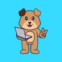 Cute dog holding laptop. Animal cartoon concept isolated. Can used for t-shirt, greeting card, invitation card or mascot. Flat Cartoon Style vector