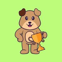 Cute dog holding gold trophy. Animal cartoon concept isolated. Can used for t-shirt, greeting card, invitation card or mascot. Flat Cartoon Style vector