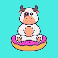 linda vaca está sentada sobre donas. aislado concepto de dibujos animados de animales. Puede utilizarse para camiseta, tarjeta de felicitación, tarjeta de invitación o mascota. estilo de dibujos animados plana vector