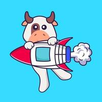 Cute cow flying on rocket. Animal cartoon concept isolated. Can used for t-shirt, greeting card, invitation card or mascot. Flat Cartoon Style vector