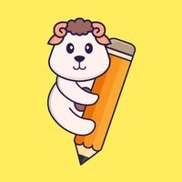 Cute sheep holding a pencil. Animal cartoon concept isolated. Can used for t-shirt, greeting card, invitation card or mascot. Flat Cartoon Style vector