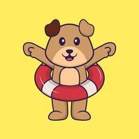 lindo perro usando un flotador. aislado concepto de dibujos animados de animales. Puede utilizarse para camiseta, tarjeta de felicitación, tarjeta de invitación o mascota. estilo de dibujos animados plana vector