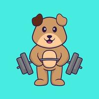 Cute dog lifts the barbell. Animal cartoon concept isolated. Can used for t-shirt, greeting card, invitation card or mascot. Flat Cartoon Style vector