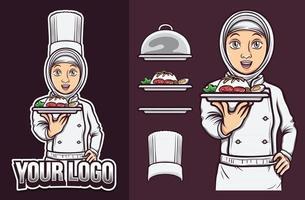 beautiful muslim female chef with hijab holding halal food logo vector