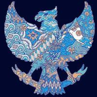 batik culture on garuda silhouette illustration vector