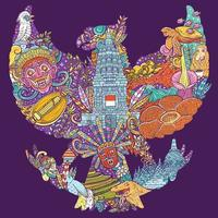 colorful illustration doodle of indonesia with garuda pancasila shape vector