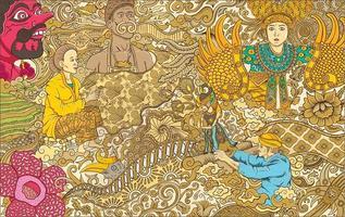 indonesian batik and ornament illustration vector