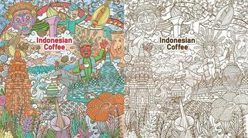 colorful doodle indonesian java coffee colorful illustration with color background vector