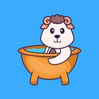 Cute sheep taking a bath in the bathtub. Animal cartoon concept isolated. Can used for t-shirt, greeting card, invitation card or mascot. Flat Cartoon Style vector