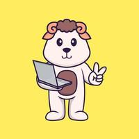 Cute sheep holding laptop. Animal cartoon concept isolated. Can used for t-shirt, greeting card, invitation card or mascot. Flat Cartoon Style vector