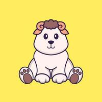 Cute sheep is sitting. Animal cartoon concept isolated. Can used for t-shirt, greeting card, invitation card or mascot. Flat Cartoon Style vector