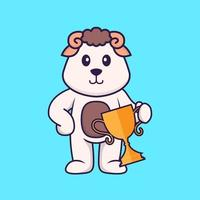 Cute sheep holding gold trophy. Animal cartoon concept isolated. Can used for t-shirt, greeting card, invitation card or mascot. Flat Cartoon Style vector