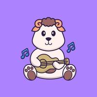 Cute sheep playing guitar. Animal cartoon concept isolated. Can used for t-shirt, greeting card, invitation card or mascot. Flat Cartoon Style vector