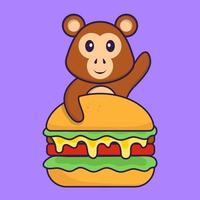 Cute monkey eating burger. Animal cartoon concept isolated. Can used for t-shirt, greeting card, invitation card or mascot. Flat Cartoon Style vector
