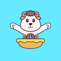 Cute sheep with birthday cake. Animal cartoon concept isolated. Can used for t-shirt, greeting card, invitation card or mascot. Flat Cartoon Style vector
