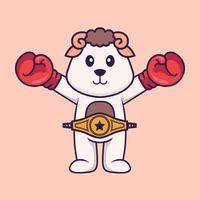 Cute sheep in boxer costume with champion belt. Animal cartoon concept isolated. Can used for t-shirt, greeting card, invitation card or mascot. Flat Cartoon Style vector