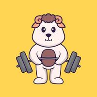 Cute sheep lifts the barbell. Animal cartoon concept isolated. Can used for t-shirt, greeting card, invitation card or mascot. Flat Cartoon Style vector