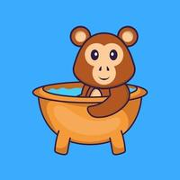 Cute monkey taking a bath in the bathtub. Animal cartoon concept isolated. Can used for t-shirt, greeting card, invitation card or mascot. Flat Cartoon Style vector