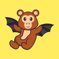 mono lindo está volando con alas. aislado concepto de dibujos animados de animales. Puede utilizarse para camiseta, tarjeta de felicitación, tarjeta de invitación o mascota. estilo de dibujos animados plana vector