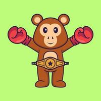 Cute monkey in boxer costume with champion belt. Animal cartoon concept isolated. Can used for t-shirt, greeting card, invitation card or mascot. Flat Cartoon Style vector