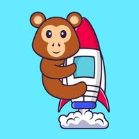 Cute monkey flying on rocket. Animal cartoon concept isolated. Can used for t-shirt, greeting card, invitation card or mascot. Flat Cartoon Style vector