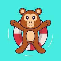 Cute monkey is Swimming with a buoy. Animal cartoon concept isolated. Can used for t-shirt, greeting card, invitation card or mascot. Flat Cartoon Style vector