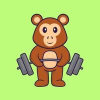 Cute monkey lifts the barbell. Animal cartoon concept isolated. Can used for t-shirt, greeting card, invitation card or mascot. Flat Cartoon Style vector