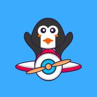 Cute penguin flying on a plane. Animal cartoon concept isolated. Can used for t-shirt, greeting card, invitation card or mascot. Flat Cartoon Style vector