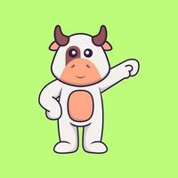 Cute cow hero. Animal cartoon concept isolated. Can used for t-shirt, greeting card, invitation card or mascot. Flat Cartoon Style vector