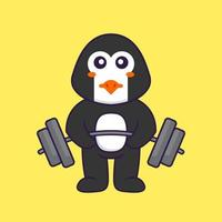 Cute penguin lifts the barbell. Animal cartoon concept isolated. Can used for t-shirt, greeting card, invitation card or mascot. Flat Cartoon Style vector
