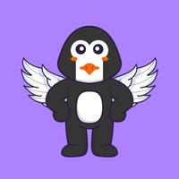 Cute penguin using wings. Animal cartoon concept isolated. Can used for t-shirt, greeting card, invitation card or mascot. Flat Cartoon Style vector