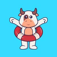 Cute cow using a float. Animal cartoon concept isolated. Can used for t-shirt, greeting card, invitation card or mascot. Flat Cartoon Style vector