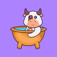 Cute cow taking a bath in the bathtub. Animal cartoon concept isolated. Can used for t-shirt, greeting card, invitation card or mascot. Flat Cartoon Style vector