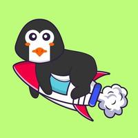 Cute penguin flying on rocket. Animal cartoon concept isolated. Can used for t-shirt, greeting card, invitation card or mascot. Flat Cartoon Style vector