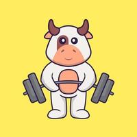 Cute cow lifts the barbell. Animal cartoon concept isolated. Can used for t-shirt, greeting card, invitation card or mascot. Flat Cartoon Style vector