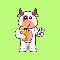 Cute cow holding orange juice in glass. Animal cartoon concept isolated. Can used for t-shirt, greeting card, invitation card or mascot. Flat Cartoon Style vector