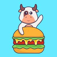 Cute cow eating burger. Animal cartoon concept isolated. Can used for t-shirt, greeting card, invitation card or mascot. Flat Cartoon Style vector