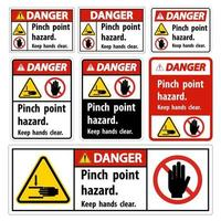 Danger Pinch Point Hazard,Keep Hands Clear Symbol Sign Isolate on White Background,Vector Illustration vector