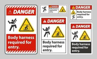 Danger Sign Body Harness Required For Entry vector