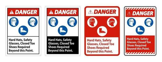 Danger Sign Hard Hats, Safety Glasses, Closed Toe Shoes Required Beyond This Point vector